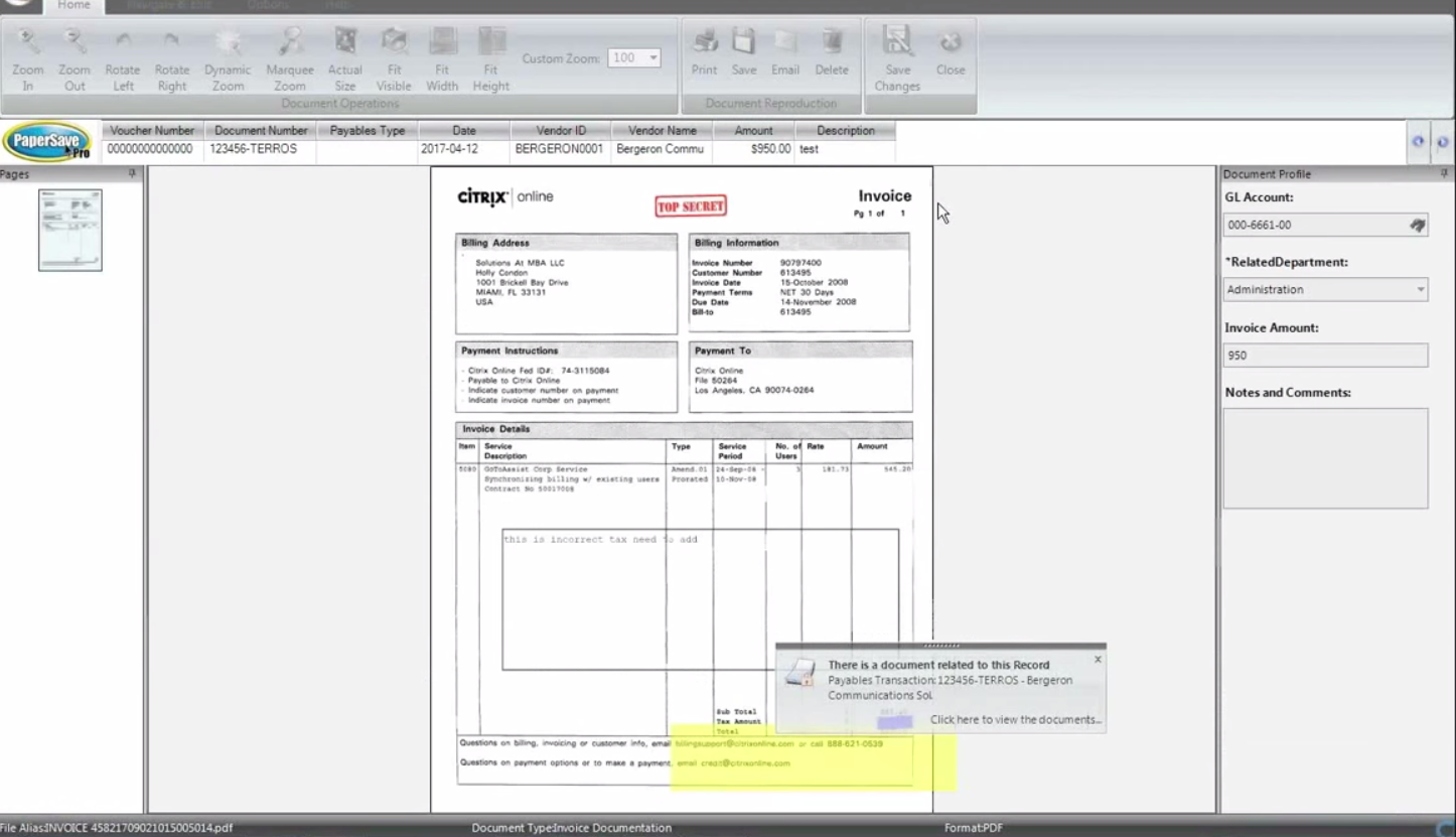 PaperSave Software - Document view