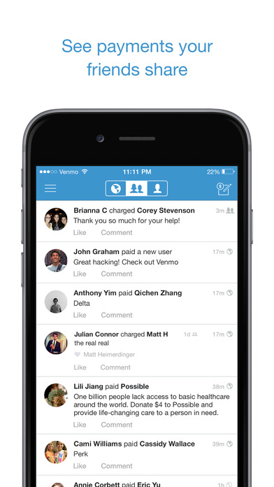 Share payments with friends and contacts