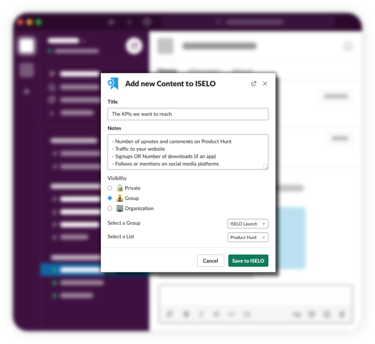 Add Content to ISELO directly from Slack using /iselo command or Slack Message Extension