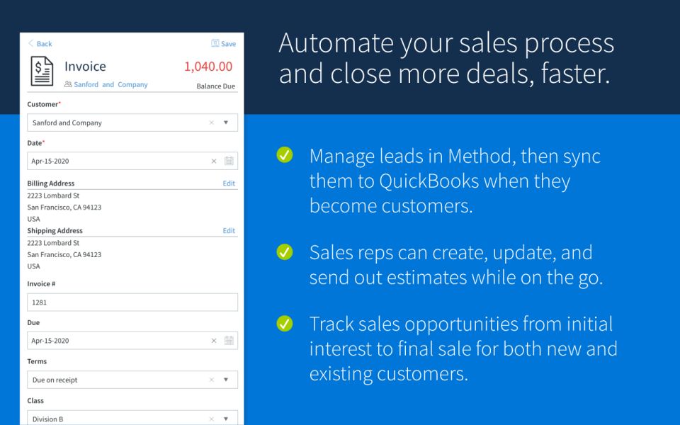 Method CRM Software - Increase productivity and close more sales with activities reminder, create estimates, and online customer portals.