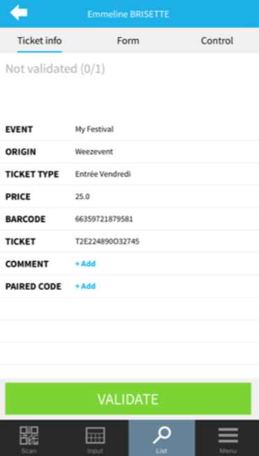 Weezevent ticket information