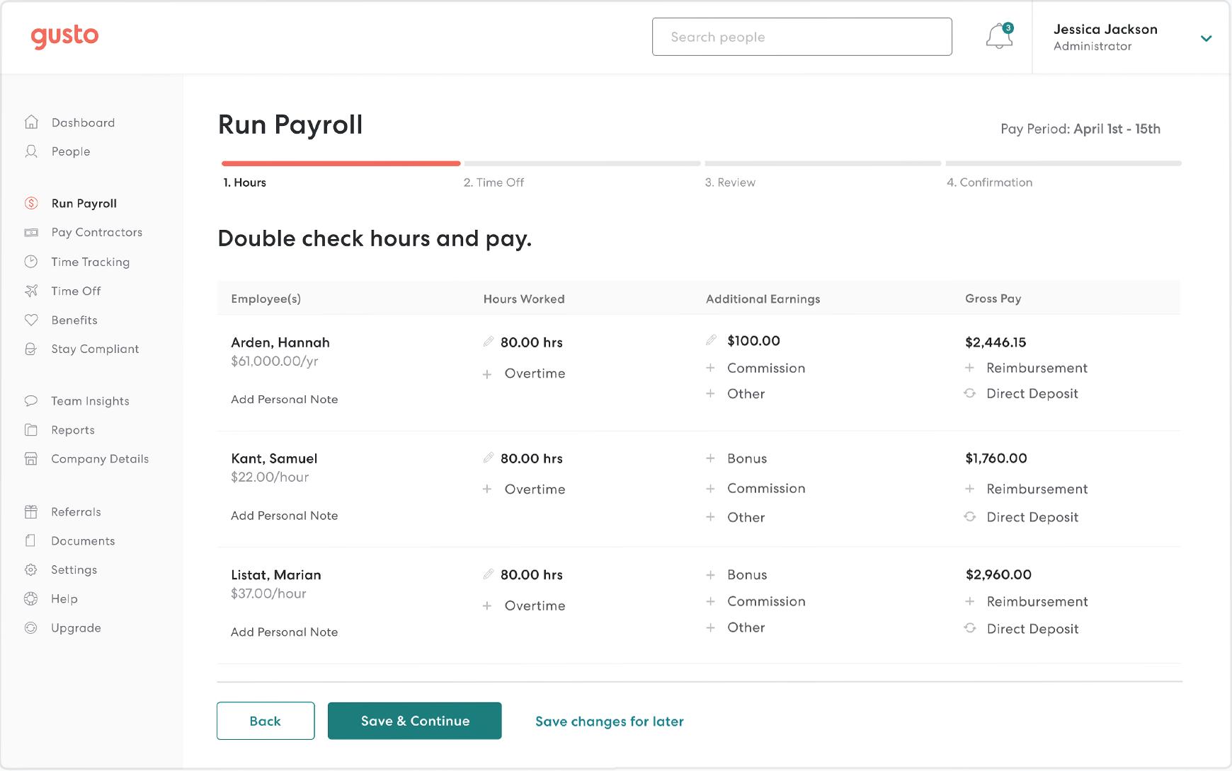 Gusto run payroll