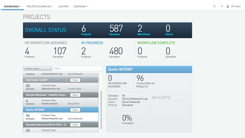 BaseSpace Clarity LIMS dashboard screenshot