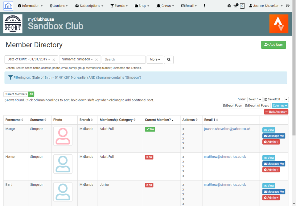 myClubhouse Software - Member Directory