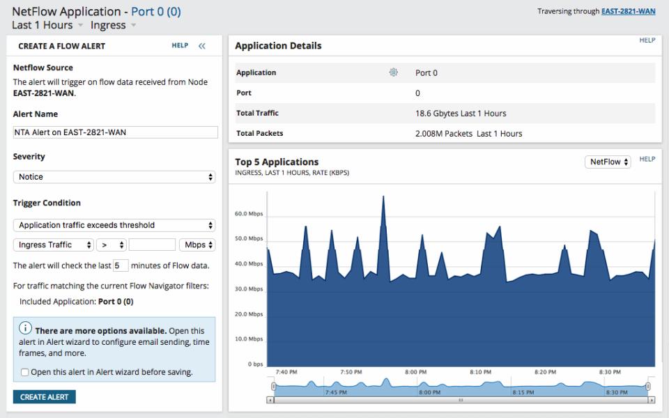 NetFlow Traffic Analyzer flow alert