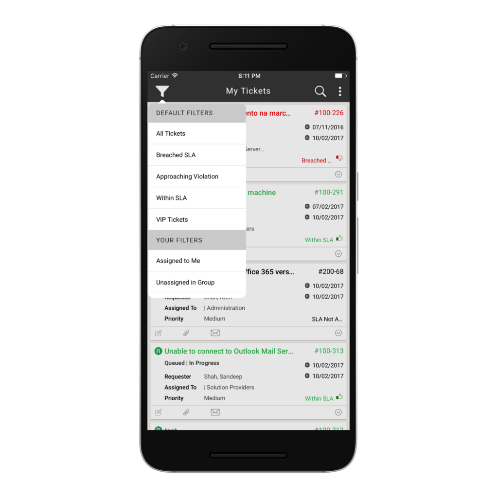 View and manage tickets using ServiceAide's mobile application for iOS or Android