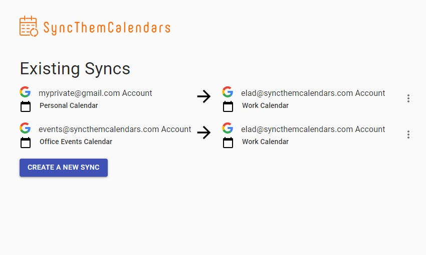 SyncThemCalendars existing sync