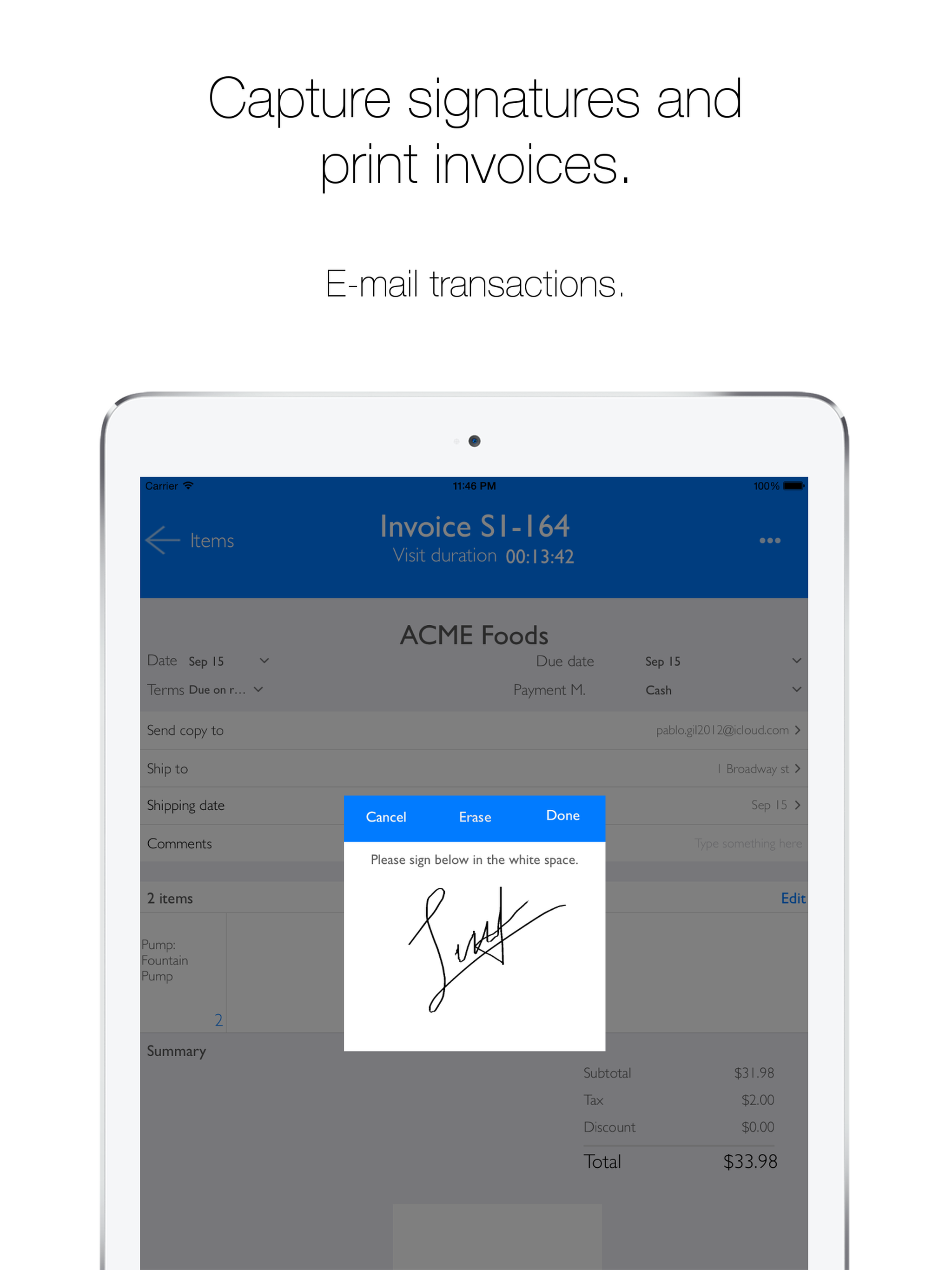 inSitu Sales: capture signatures and print invoices