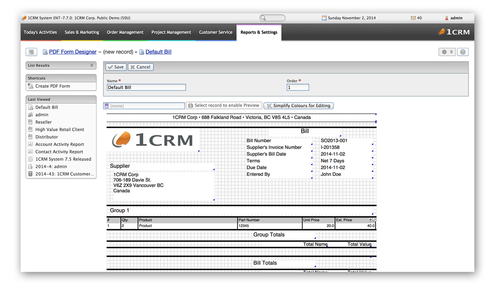 1CRM PDF Form Designer