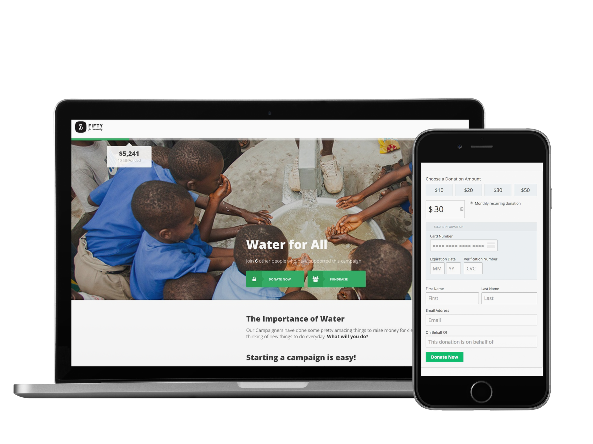 Responsive design means donors will always only be a click away from giving