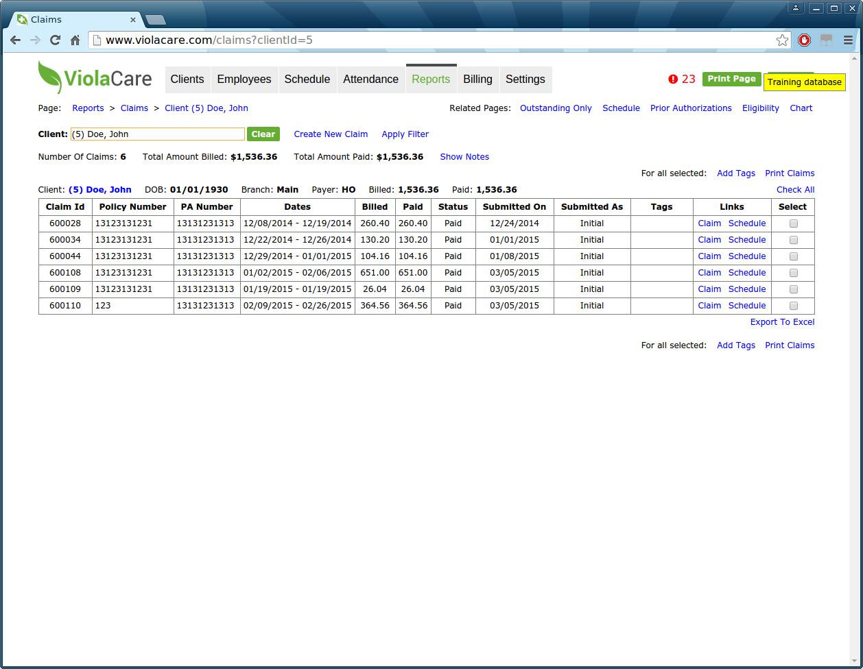 ViolaCare Software - Reporting