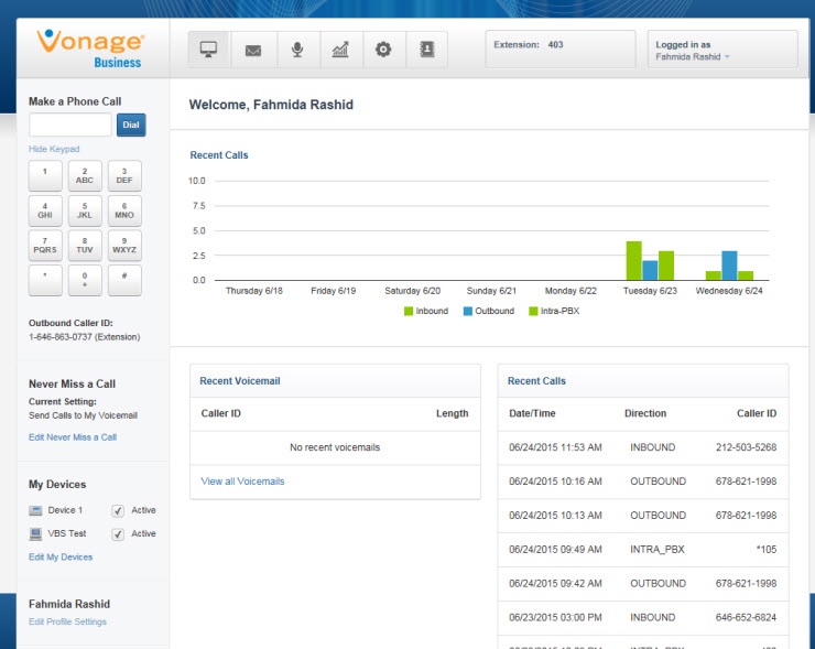 Vonage Business user console lets users keep track of recent calls