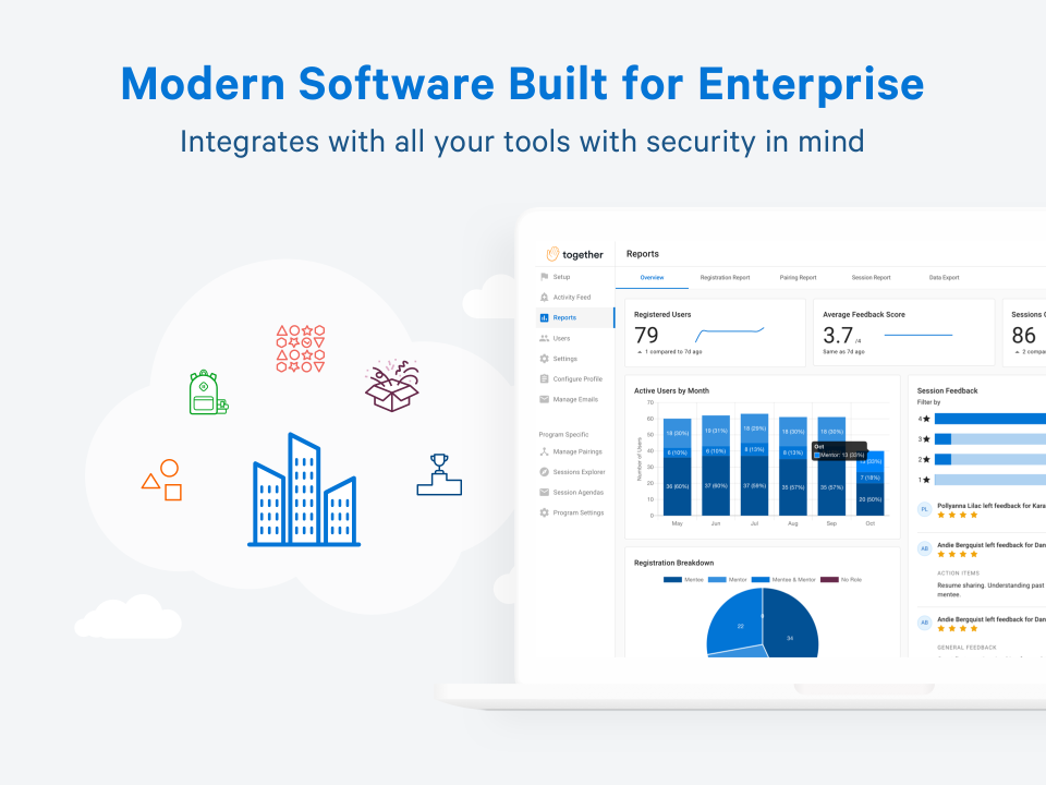 Together Enterprise Mentoring Software - Powerful integrations with everything you already use. Integrated with email and calendar tools like GSuite, Microsoft Teams, and Zoom. Connects with HRIS - Workday, UltiPro, Bamboo, ADP, SuccessFactors + many more!