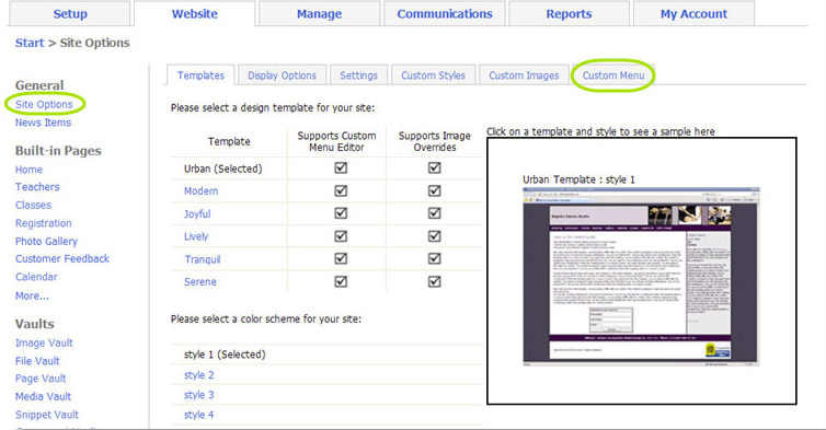 Users can choose templates and add custom menus