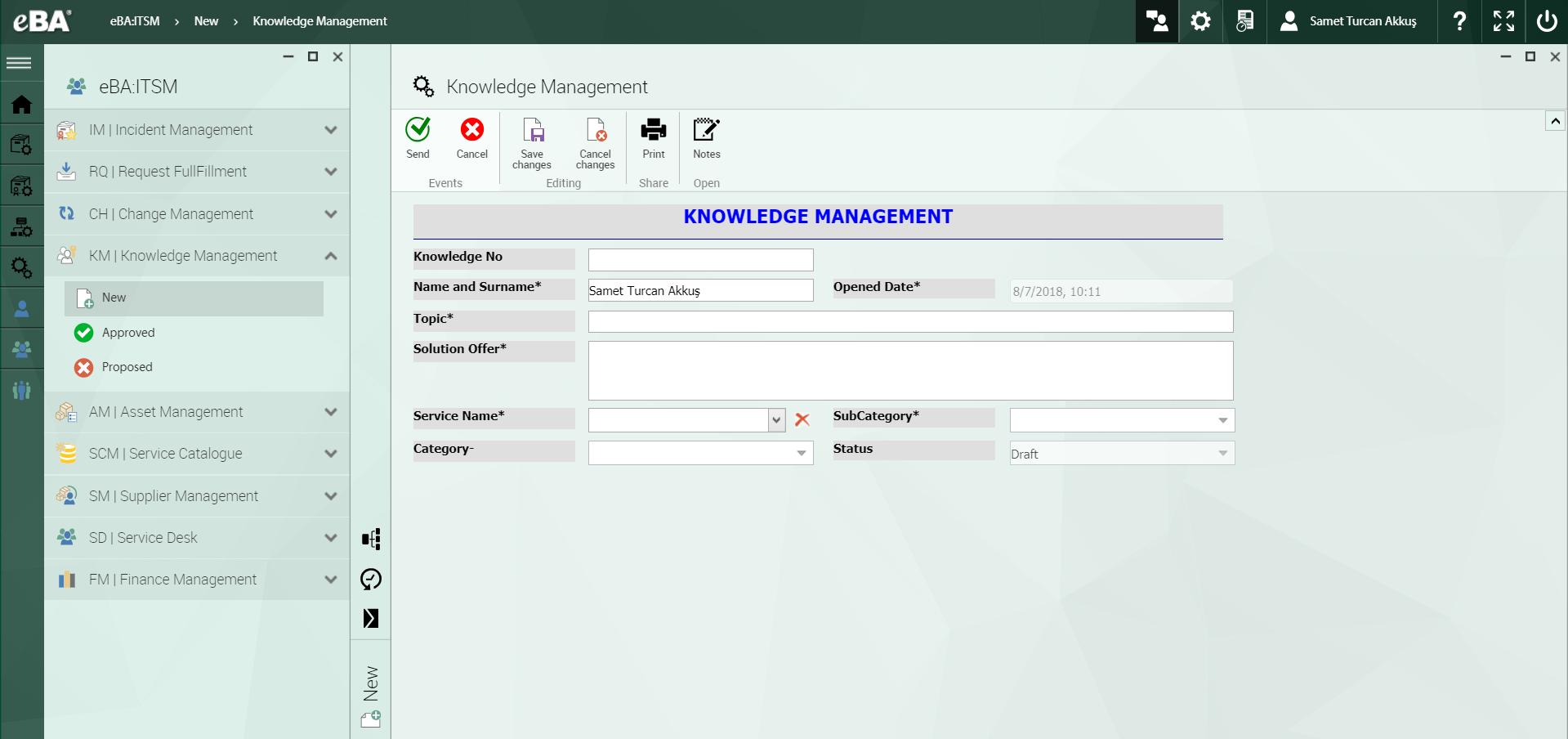 eBA ITSM Software - Knowledge management