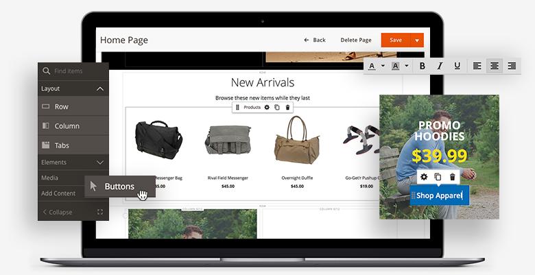 Magento Commerce page builder mock-up