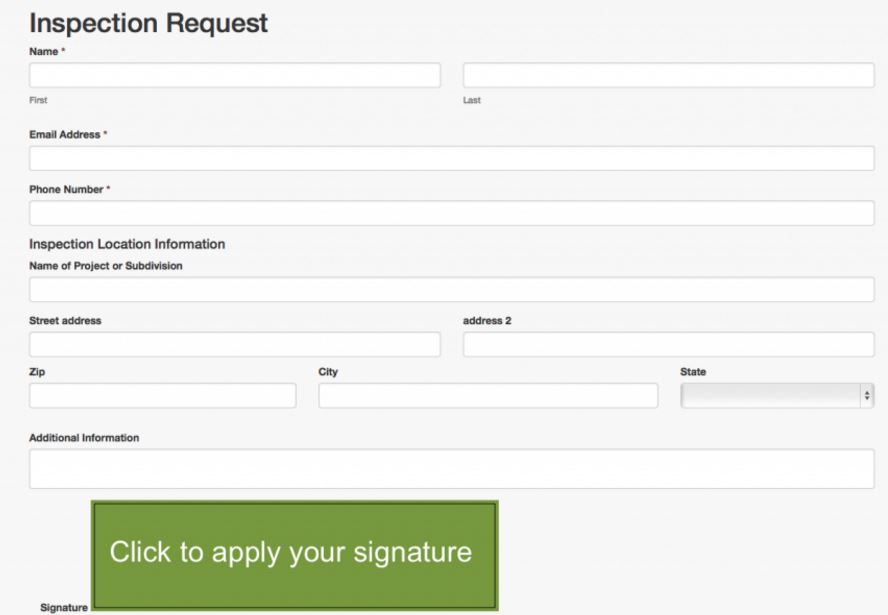 Inspection request form with digital signature