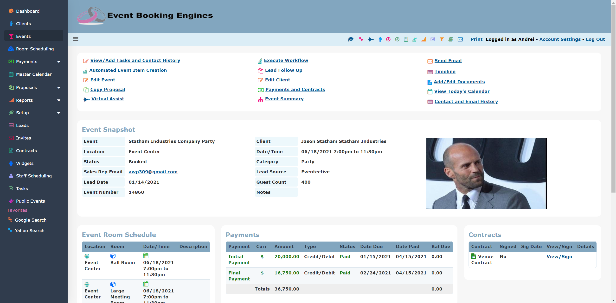 Event Booking Engines Software - Event Snapshot