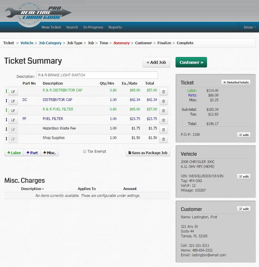 Ticket summary