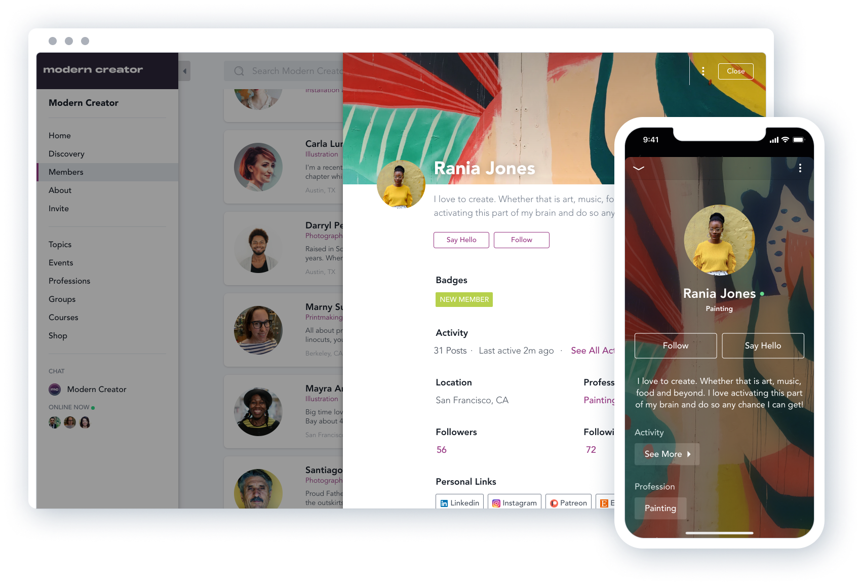 Mighty Networks Software - Members can create beautifully detailed profiles and can connect with each other based on relevant interests and categories. They can also direct message each other.