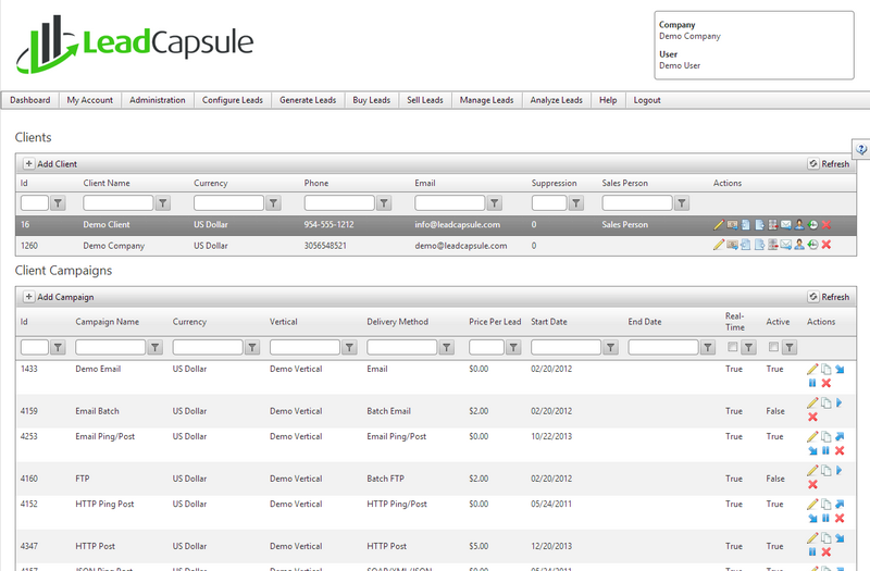 Lead Capsule screenshot: Lead Capsule allows you to fully manage your clients and the relationships that you have with them all from one place in the system