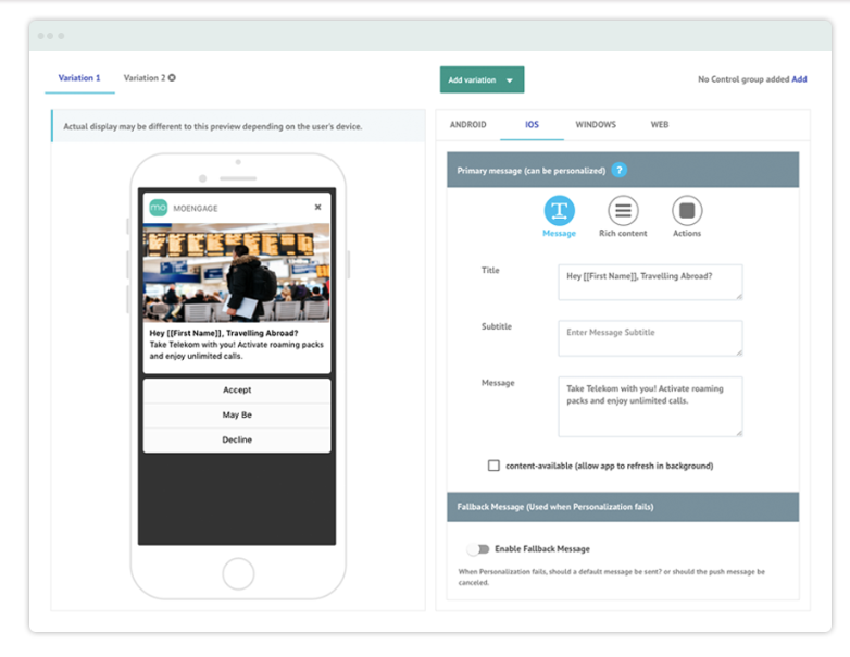 Use the WYSIWYG editor to build interactive push notifications to engage audiences via mobile