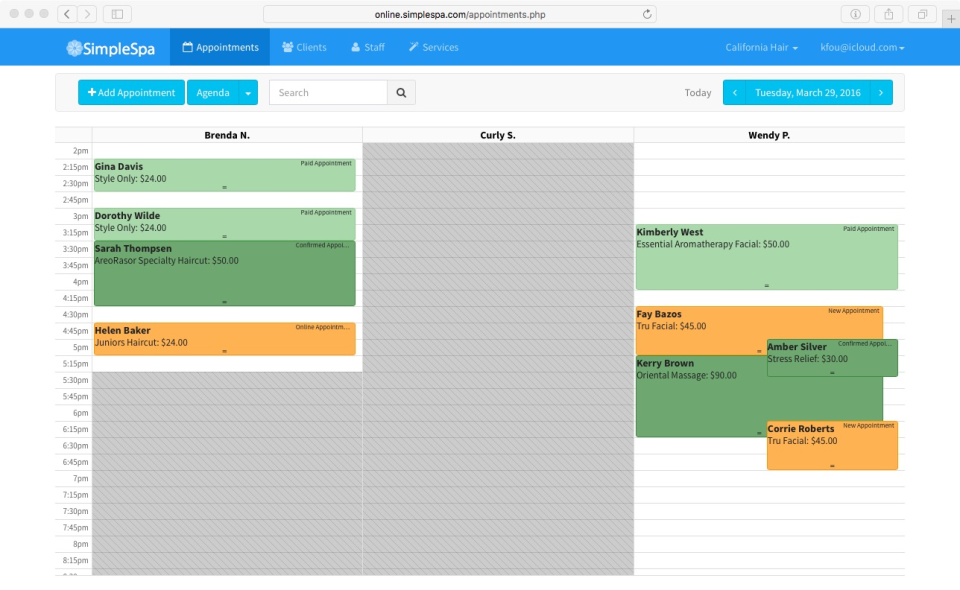 Appointments can be color-coded by status in the SimpleSpa calendar