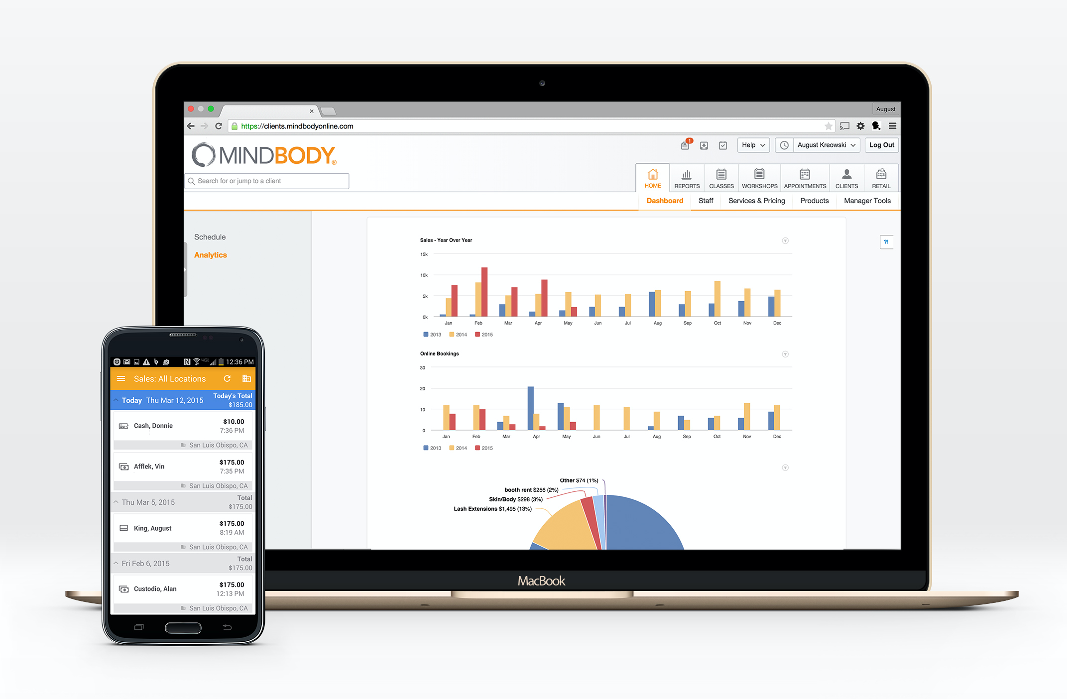 Mindbody screenshot: Generate reports to track monthly sales and revenue, retention, attendance and inventory