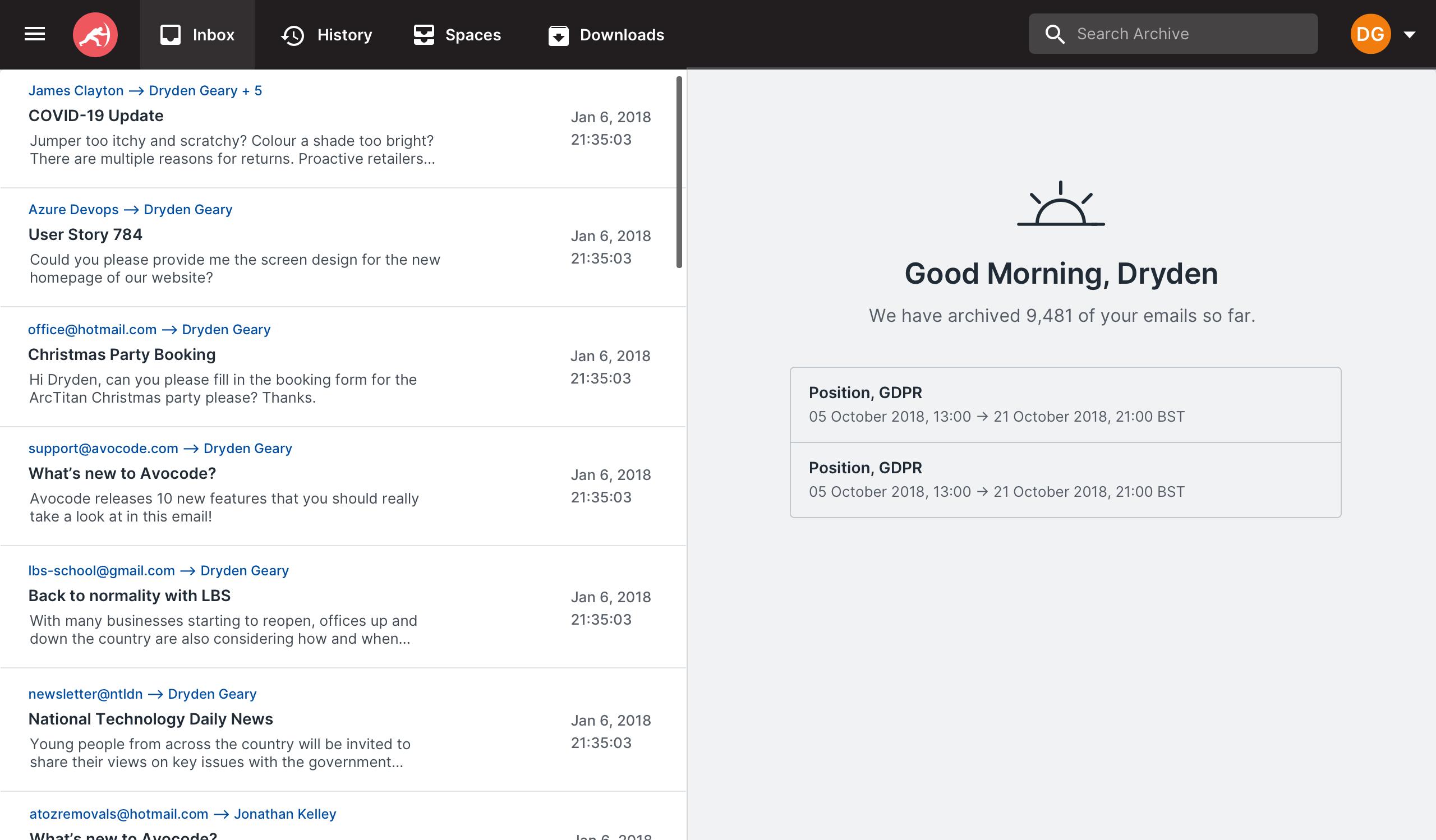 ArcTitan Email Archiving inbox