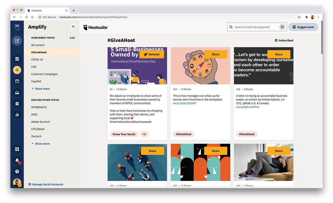 Hootsuite Software - Hootsuite Employee Advocacy