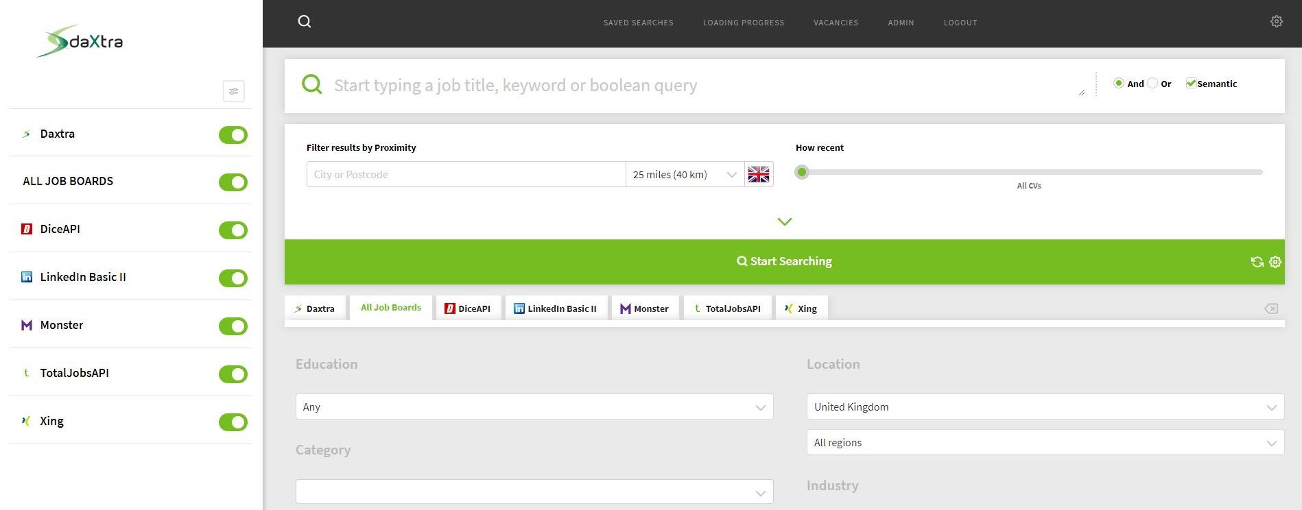Search for candidates using the advanced search functionality