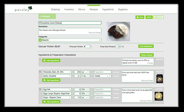 Parsley recipe costing screenshot