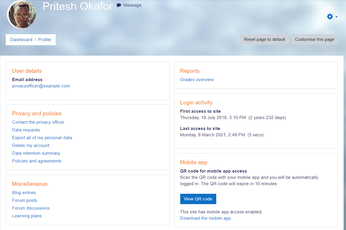 Moodle Software - Profile Example