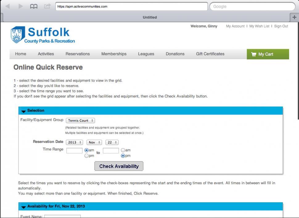 Online facility reservation form