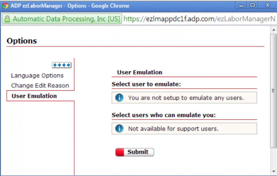 Select and submit options for user emulation