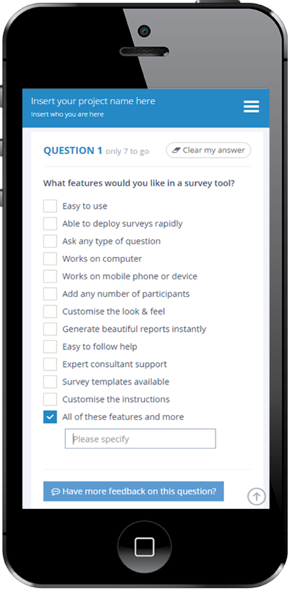 Users can create customized surveys