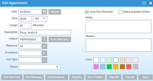 HealthBiller screenshot: The solution comes with tools to edit appointments and schedule them according to client requirements