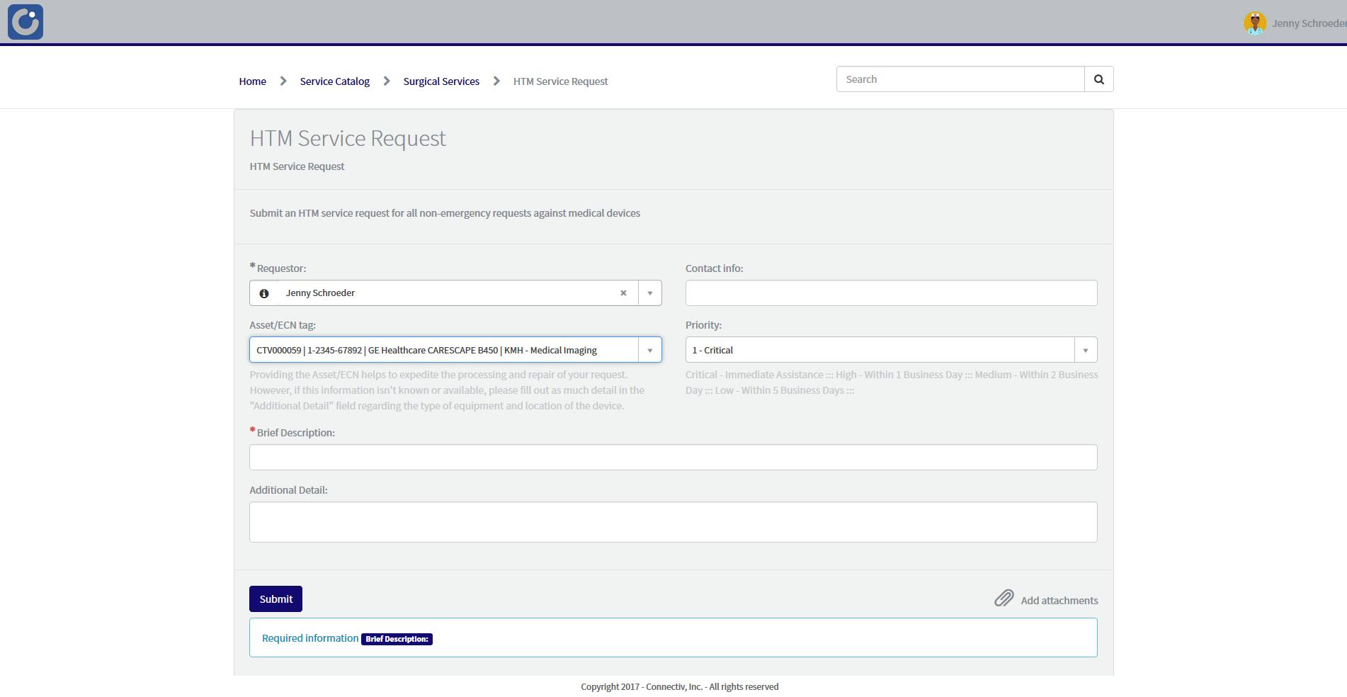 Service Request Screen