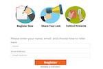 Referral Rock Software - A customizable registration page allows existing customers and referral partners to sign up to a program directly