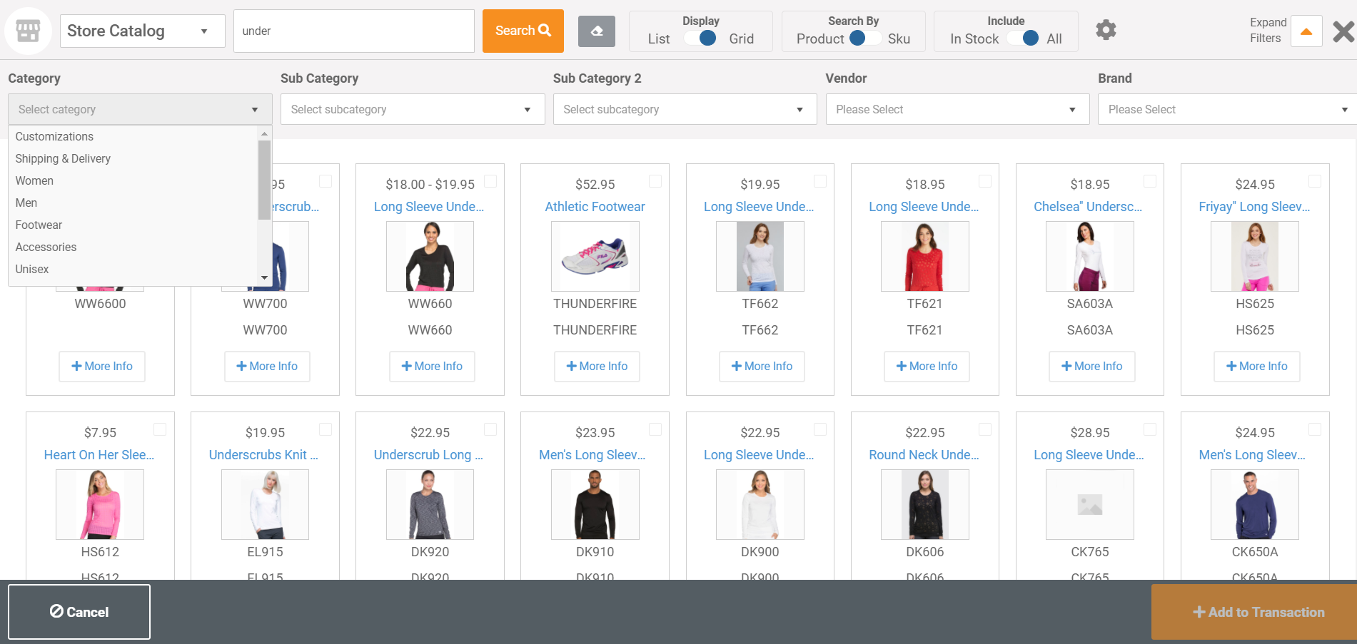 Advanced Product Search - Allows you to search by item name, SKU, style, UPC or Alt ID.  Results can be displayed in table format or as product tiles.  Advanced filters allow you to view results by category, vendors, brand, color, size or other attribute.