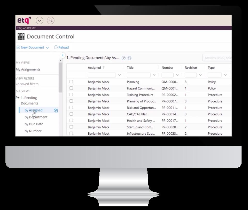ETQ Reliance Software - Document Control
