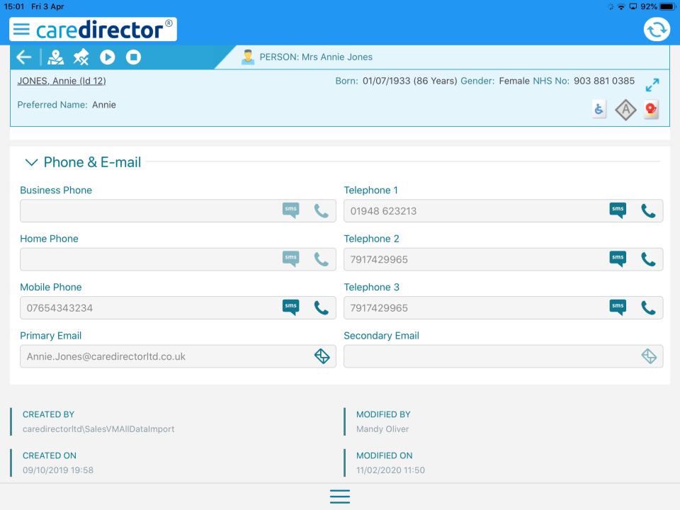 CareDirector profiles