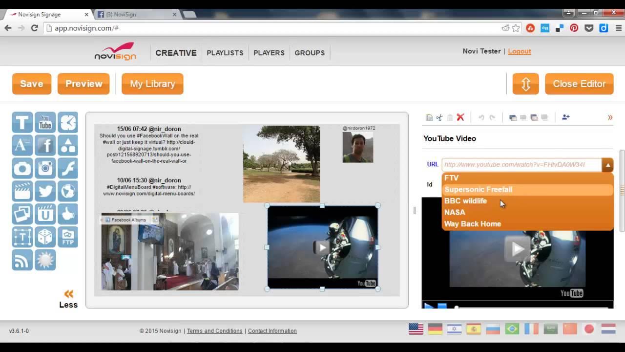 NoviSign Digital Signage social widgets screenshot