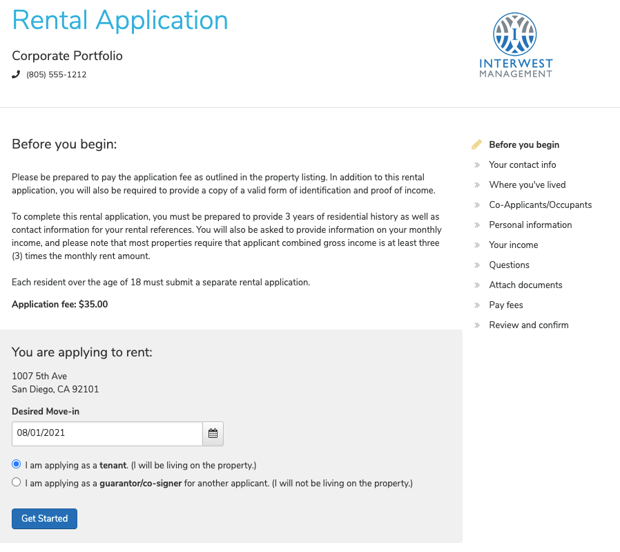 AppFolio Property Manager Software - Online Rental Application