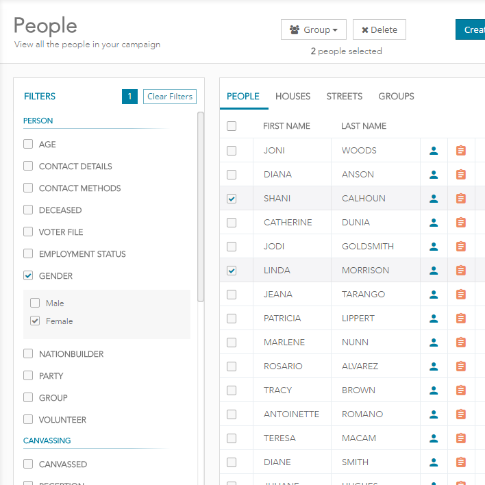 The People page allows users to manage voter outreach and organization