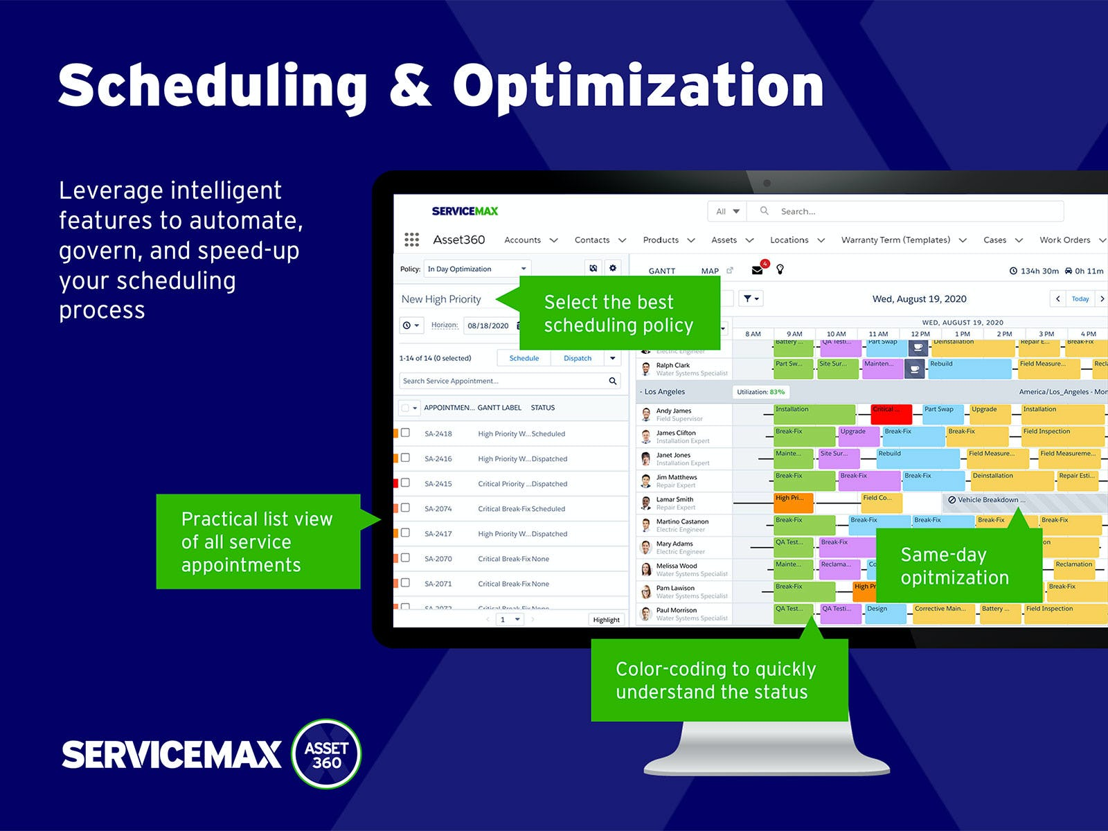 ServiceMax Software - Maximize call center, dispatcher and technician productivity with powerful capabilities from ServiceMax Asset 360 for Salesforce Field Service.