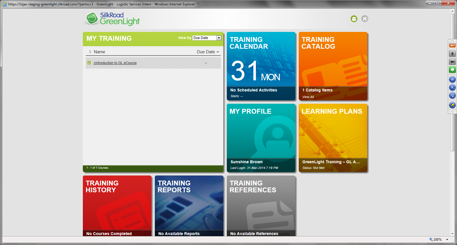 SilkRoad Learning Software - My training
