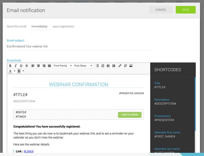 WebinarJam screenshot: Utilize the built-in autoresponder