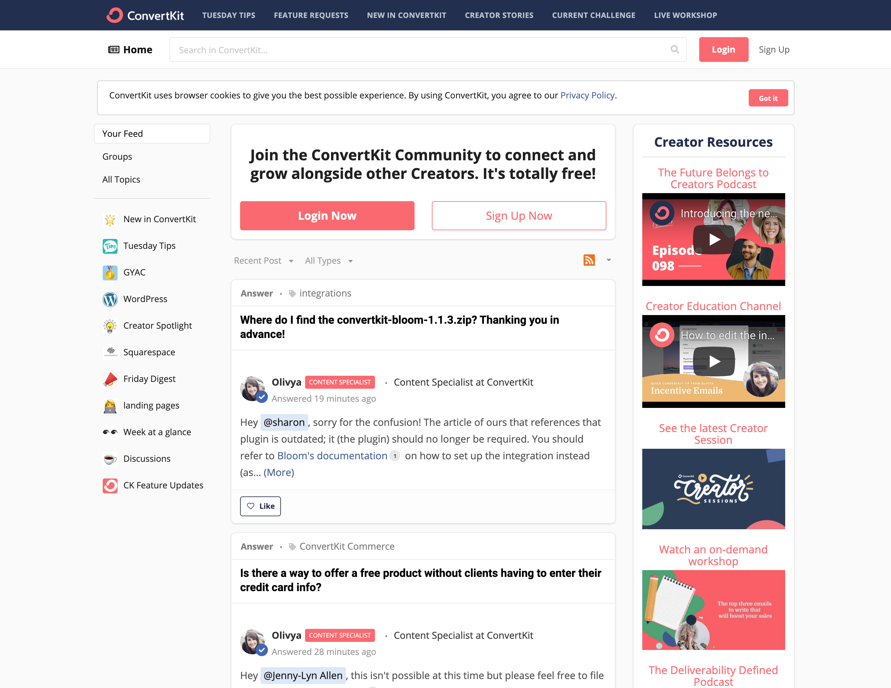 Tribe screenshot: ConvertKit's customer community enables members to post content, access key resources, learn from peers, request answers, comment, upvote, and build networks.