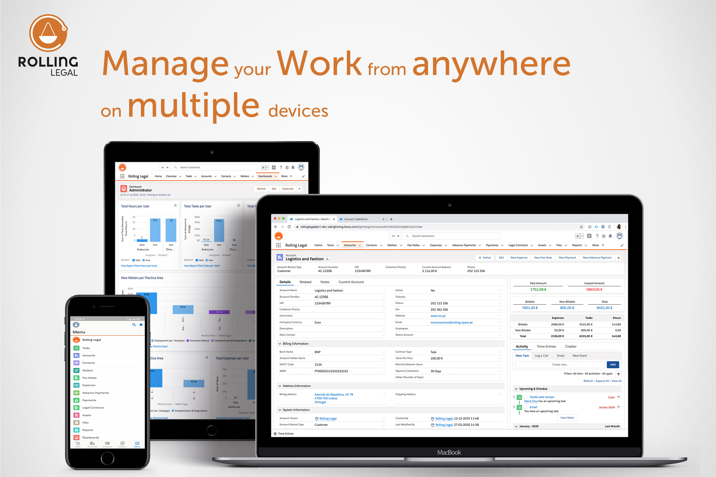Rolling Legal - The complete solution for Lawyers! Manage your Work from anywhere on multiple devices